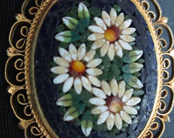 Vintage costume jewelry  / mosaic brooch