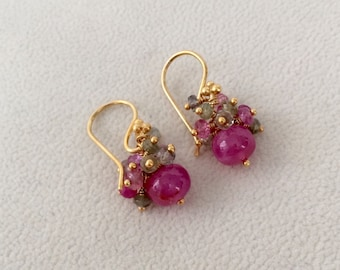 Multicolored Sapphire Boutique Earrings in Gold Vermeil with Raspberry Pink and Pistachio Green Sapphires
