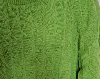 electric lime green sweater jumper textured knit Modern Essentials small over size baggy