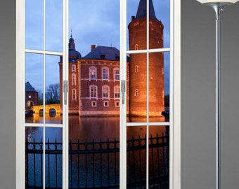 Wall mural french door, self adhesive, Hoenbroek Castle, Holland 48x72- free US shipping