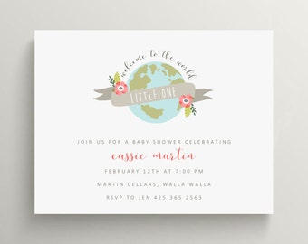 welcome to the world baby shower invitation set // thank you note // blue // baby announcement // note card // earth // travel