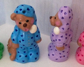 Hand Painted Christmas Ornament Figurine - Bear in Pajamas with Bear