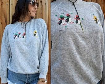 Vintage 80s SKI TAHOE PENGUIN Sweatshirt M