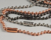 CHOICE of 30 inch Ball Chain Necklaces - Copper - Stainless Steel - Gunmetal Black - Made in USA