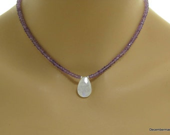 Amethyst Rondelle Necklace with Rainbow Moonstone Briolette