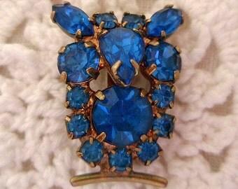 Vintage Rhinestone Pin Tiny OWL Sapphire Blue Rhinestones