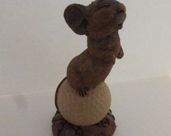 Vintage Cairn Studio Tim Wolfe Mouse ChiChi on a Golf Ball