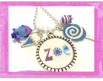 Personalized Charm Necklace for Girls SO SWEET Bezel Charm Summer Sweet Jewelry by LillyEllen Q39