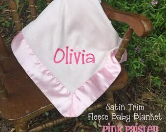 Monogram satin trimmed fleece personalized baby blanket