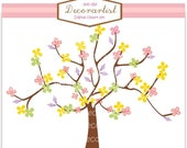ON SALE Tree clip art, colour tree and butterflies2, tree, flowers, butterfly, INSTANT Download