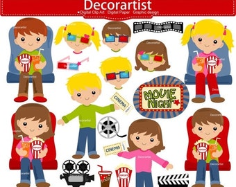 ON SALE movie night clipart, movie clipart, theater clipart, cinema clipart, girl clipart, boy clipart, instant download