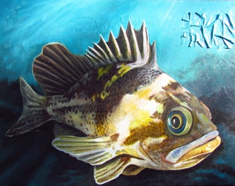 Original acrylic painting - 43 X 56 inches - Rockfish in turquoise