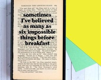 Alice in Wonderland - Alice in Wonderland Book Print - Framed Quote - Vintage - Six Impossible Things - Alice in Wonderland Wall Art