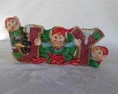 Vintage Joy Hand Painted Christmas Elves Candle Holder