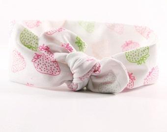 Headband- Strawberry Top Knot Jersey Knot Headband