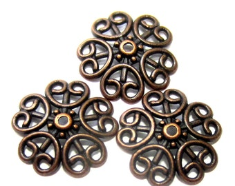 24 Red copper bead caps 18mm x 4 lace filigree diy jewelry making flower bead caps F1863-(V3)