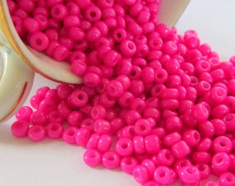 Hot pink seed beads 50g -6/0- 4mm glass beads opaque K24-