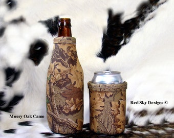 Leather Beer Can Holder-Mossy Oak Leather Can Insulator - Mens Gift - Wildlife -Cowhide Coolie-Moose-Elk-Deer-Trout-Bear-Bison-Horse-Montana