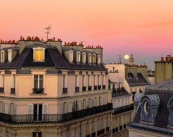 Paris Moon Photograph, Apartment Building Photo Paris Sunset Neutral Colors Wall Art Home Decor par208