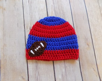 Football Baby Hat, Red and Blue Football Beanie, Striped Football Hat