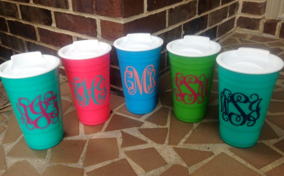 Personalized Big Gulp Solo Cup With Straw Turquoise Coral