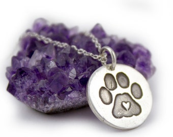 Paw Print Necklace - rescue dog I love dogs necklace puppy dog pet necklace