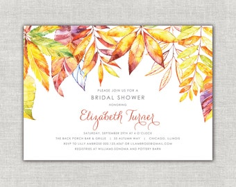 Fall Bridal Shower Invitations, Fall Shower Invites, Orange and Purple Shower, Autumn Bridal Shower Invitations, Bright Fall Leaves