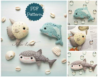 Sea life 2: Shark Whale, Sunfish and Dolphin (PDF Pattern)