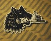 MEDIUM Wolf Bite Vinyl sticker, UV safe, all seasons.
