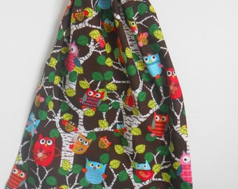 Medium Woodland Owl Drawstring Bag, Library Book Bag, Toy Bag, Laundry Bag, Shoe Bag, Made in Australia