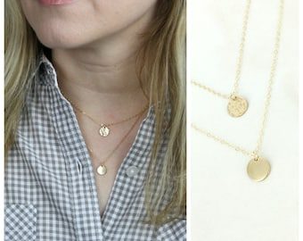 Tiny double layered hammered and smooth disc necklace • Layering necklace • Sterling Silver or Gold-filled - Set of 2 Layered disc necklace