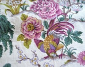 Vintage Linen Chinoiserie Fabric - Purple and Green Garden Birds Geisha Peony - Upholstery By the Yard