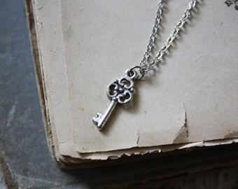 Silver Key Necklace - Key Necklace - Tiny Key Necklace -