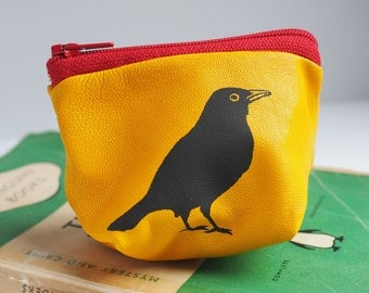 Small Blackbird Purse, Purse, Coin Purse, Leather Purse, Blackbird, Leather Coin Purse, Small Coin Purse, Bird Print, Teenager Gift