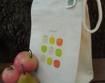 Recycled cotton lunch bag - Canvas lunch bag -  Lunch bag - Apples