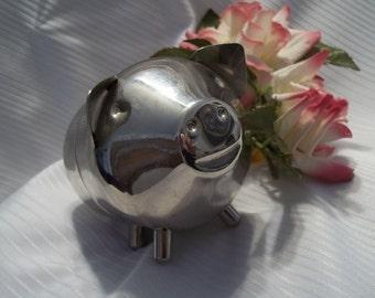 Adorable Silver-plate Piggy Bank - Collectible - Child's Bank - Coin Storage