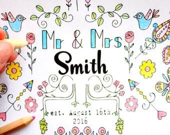 Wedding Coloring Book - Rustic Wedding Favor,  Personalized Wedding Favors, Personalized Coloring Book for Wedding Guests