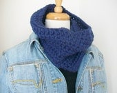 Faded denim Chunky cowl Circle scarf Cold weather wear Easy care