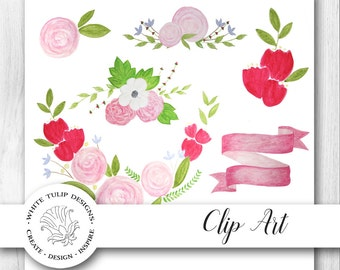 Watercolor Clipart - Spring Flowers, Floral Collection, Instant Download, Handpainted, Detailed Artwork, Banner