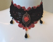 Black Red Choker Rose Cameo Tear drops by Medievaltomodern Formal Gothic Medieval Evening Wearable Art Lace Necklace Bib