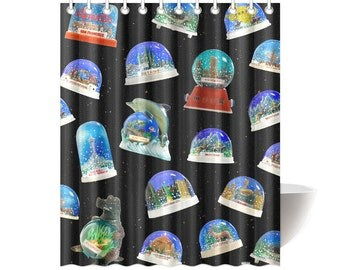 Vintage Snow Dome Shower Curtain - photographic vintage snow globe reproductions on shower curtain - custom backgrounds