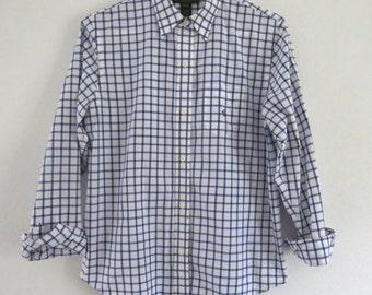 Vintage Ralph Lauren blouse Ralph Lauren shirt Preppy Lauren shirt Womens Size PM Long sleeved classic shirt Blue and white shirt Checks