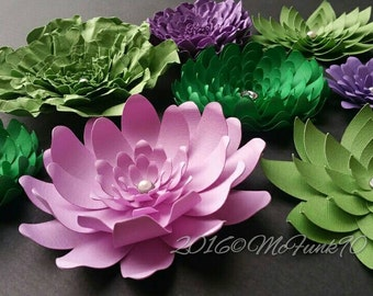Weddings Green and Purple Paper Flowers Ready to Ship