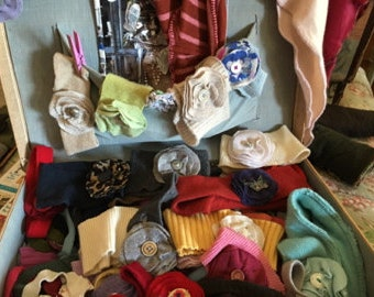Cashmere headbands with flower pin