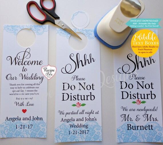 Wedding door hangers printable wedding signinstant download - Diy do not disturb door hanger ...