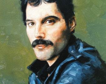 Original oil painting -  - portrait of freddy mercury - by UK artist j Payne