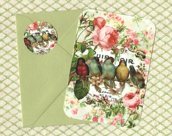 Note Cards, Roses & Birds, Gift, Note Card Set, Bird Lover, Stickers