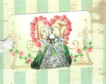 Tags, French Style,  Gift Tags, Marie Antoinette, Marie Tags
