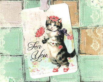 Tags, Cat Tags, For You, Birthday Tags, Gift Tags, Kittens, Party Favors