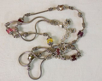Vintage Brighton Necklace, Silver beads Necklace,  Brighton Jewelry Authentic